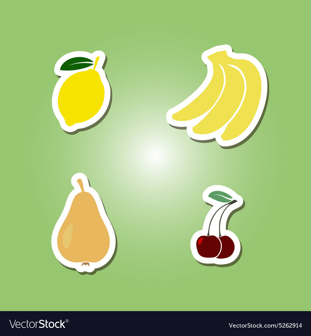 Set of color icons with fruits for your design
