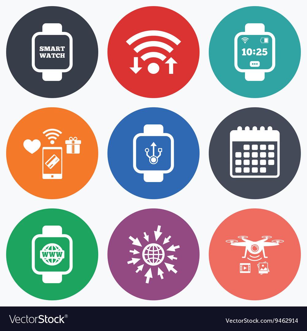 Smart watch icons Wrist digital time clock vector image on VectorStock