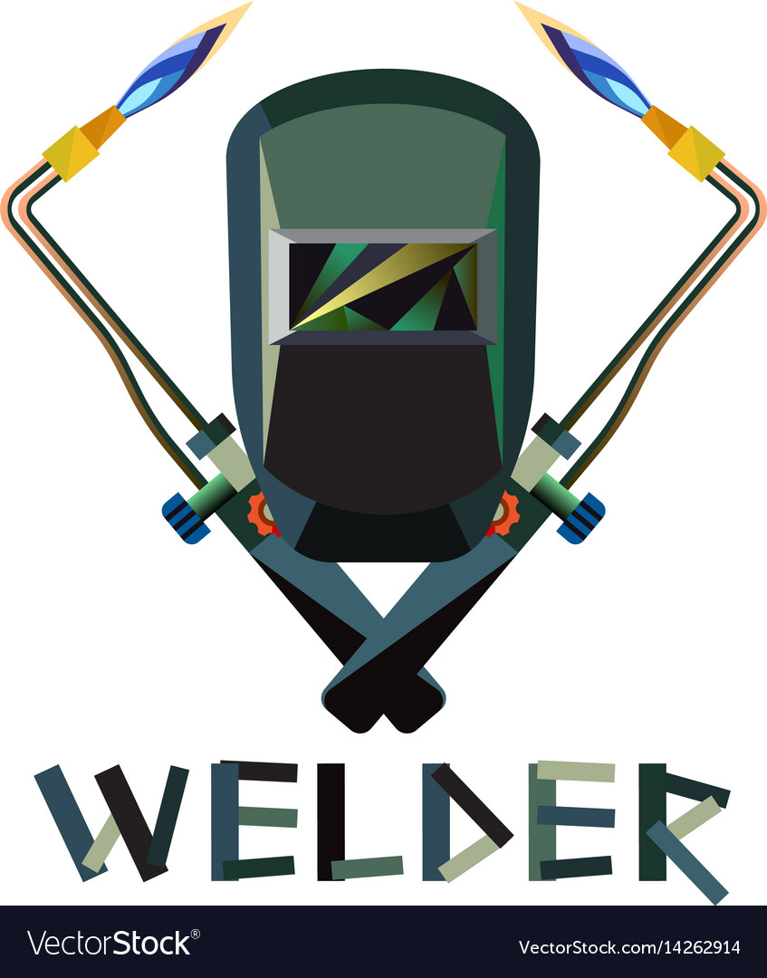 Welder Mask And Welding Torch Royalty Free Vector Image
