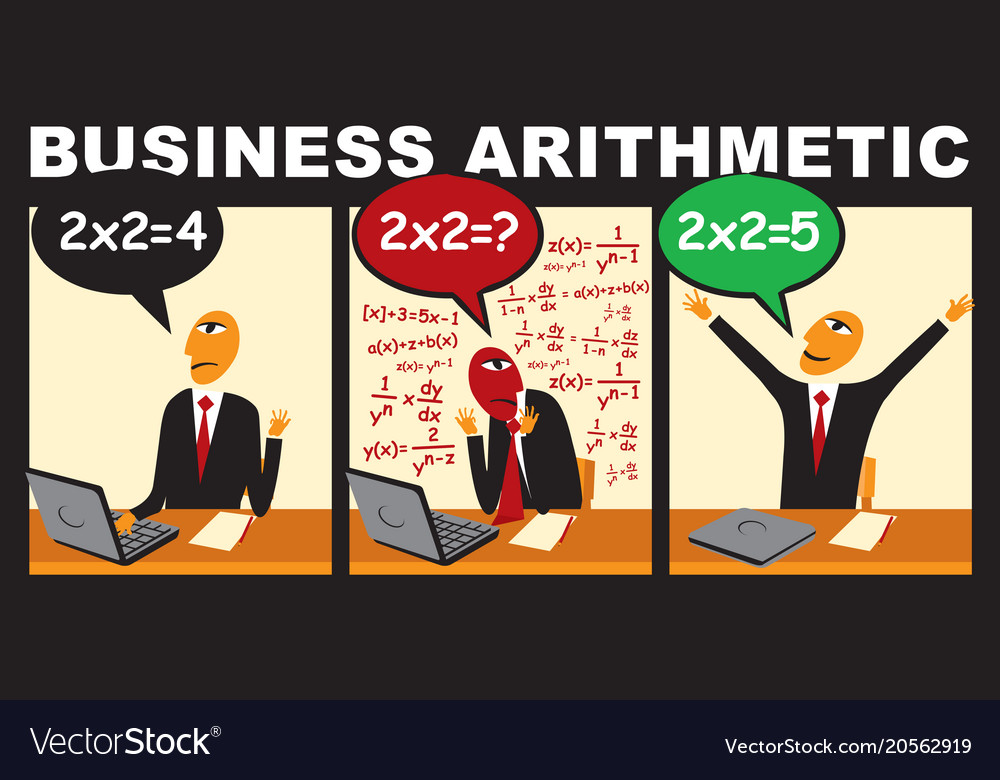 Businessman who solves complex arithmetic problem vector image
