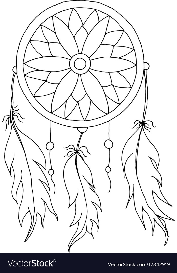 Hand To Draw A Dreamcatcher Royalty Free Vector Image Fascinating Pictures Of Dream Catchers To Draw