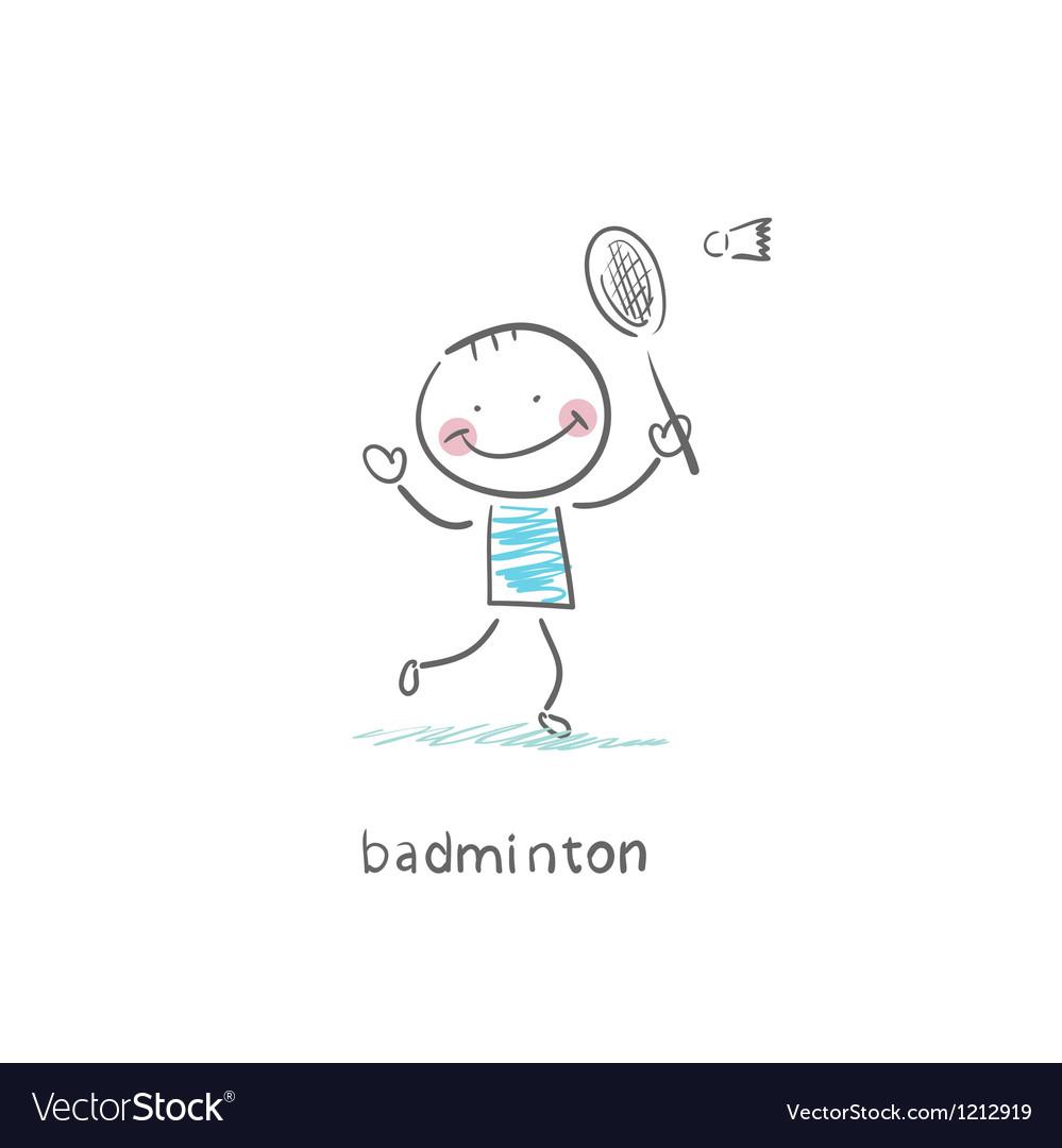 Man playing badminton vector image