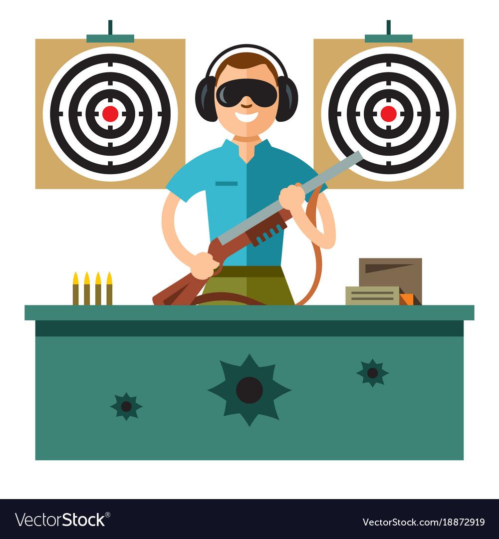 Shooting range flat style colorful cartoon