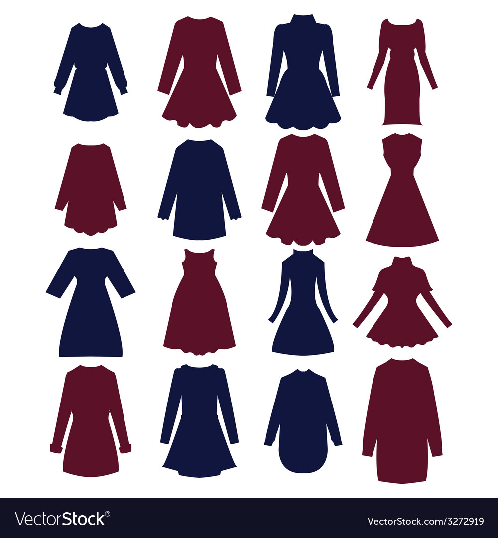 Silhouettes Of Beautiful Women Dress Royalty Free Vector
