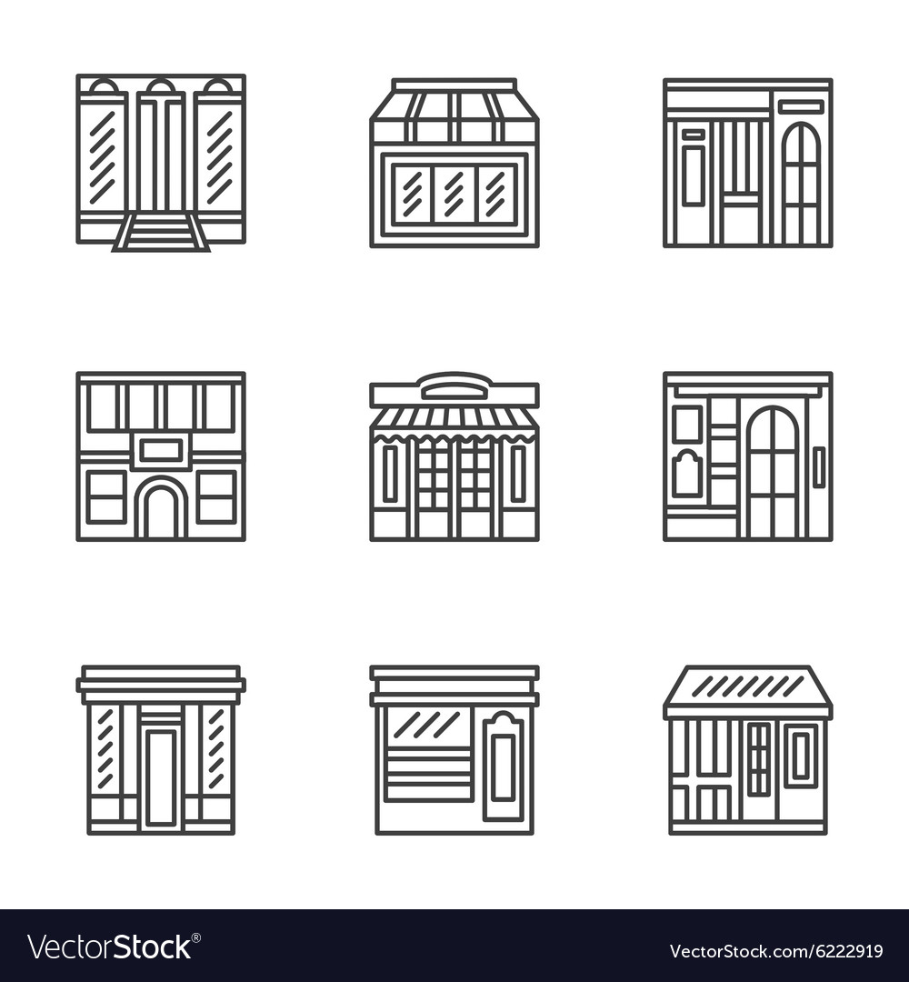 Store and cafe fronts flat line icons vector image