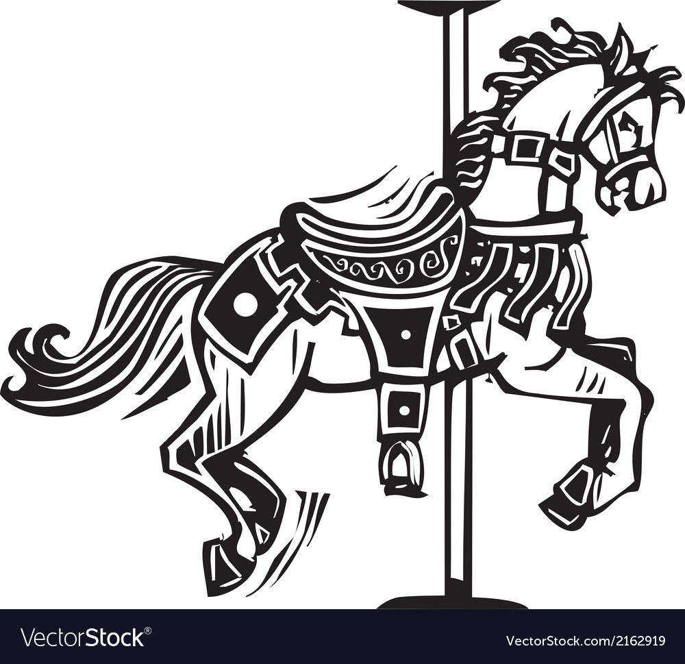 Wooden Carousel Horse Vector Image