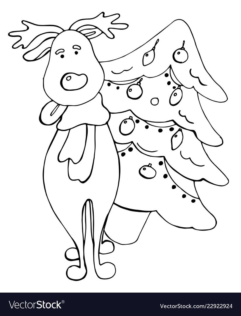 cartoon deer and fir tree elements royalty free vector image  cartoon deer and fir tree elements vector image