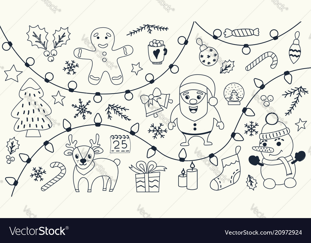 Christmas set hand drawn doodles