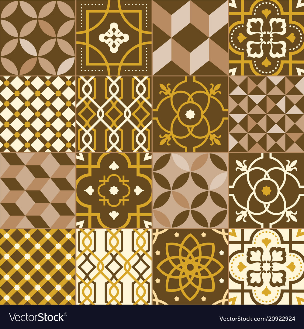 Collection of square tiles decorated with various