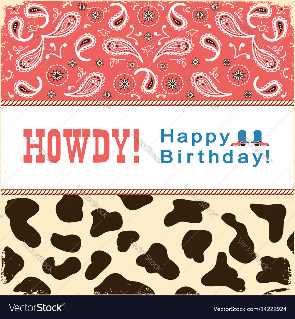 Cowboy happy birthday card with text child card vector image