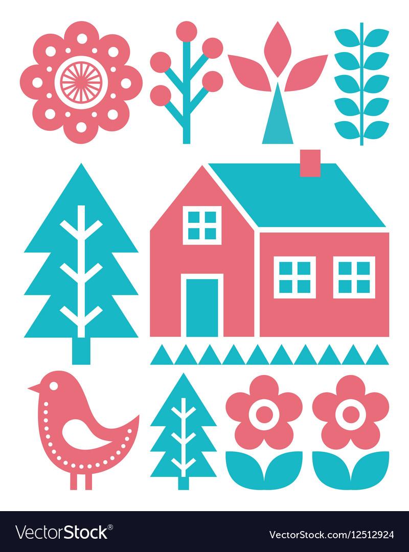 Finnish inspired folk art pattern - Scandinavian