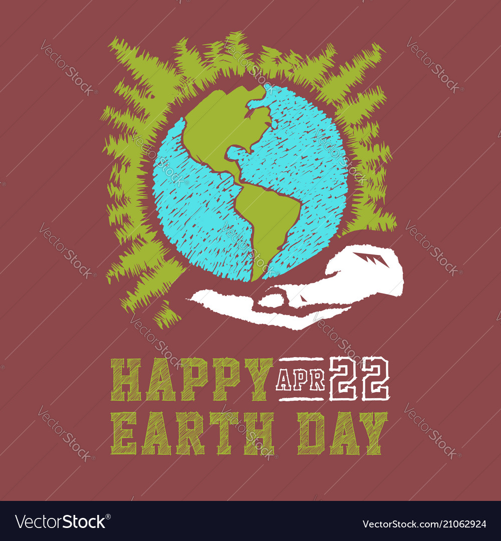 Hand drawn earth day concept sketch human hands