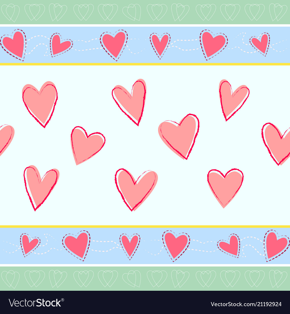 Horizontal seamless pattern with hand drawn hearts