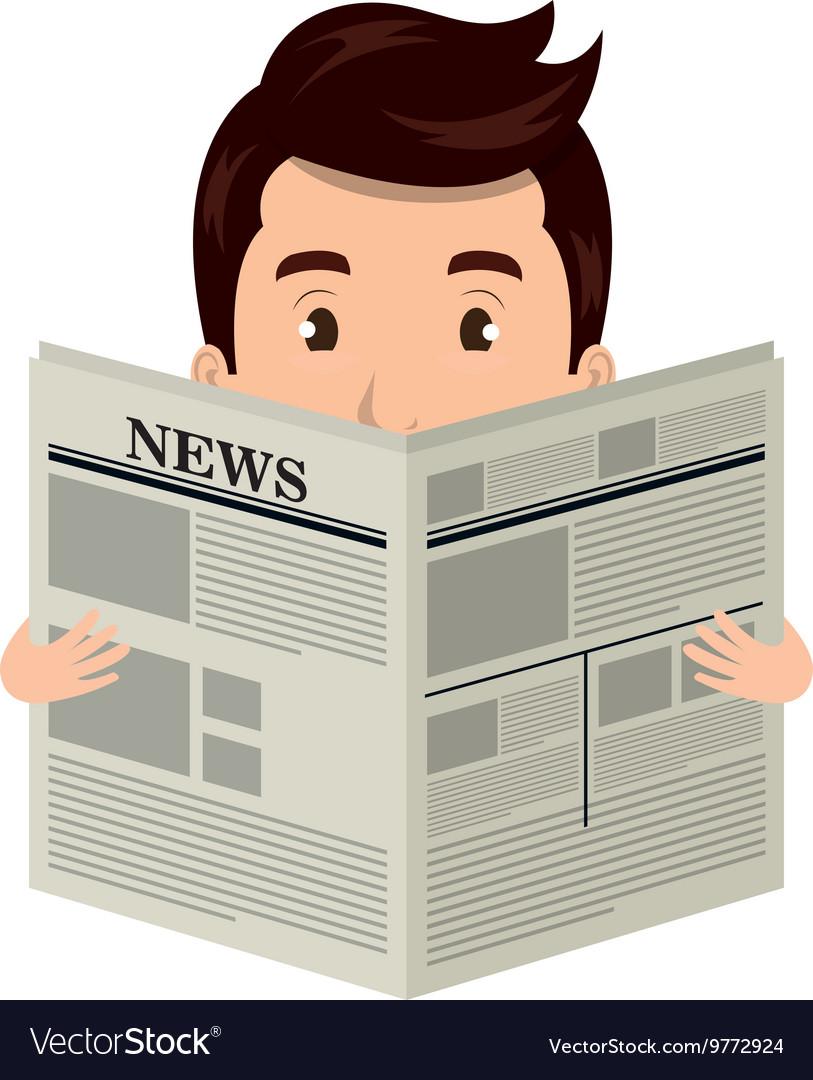 Man reading newspaper cartoon design Royalty Free Vector