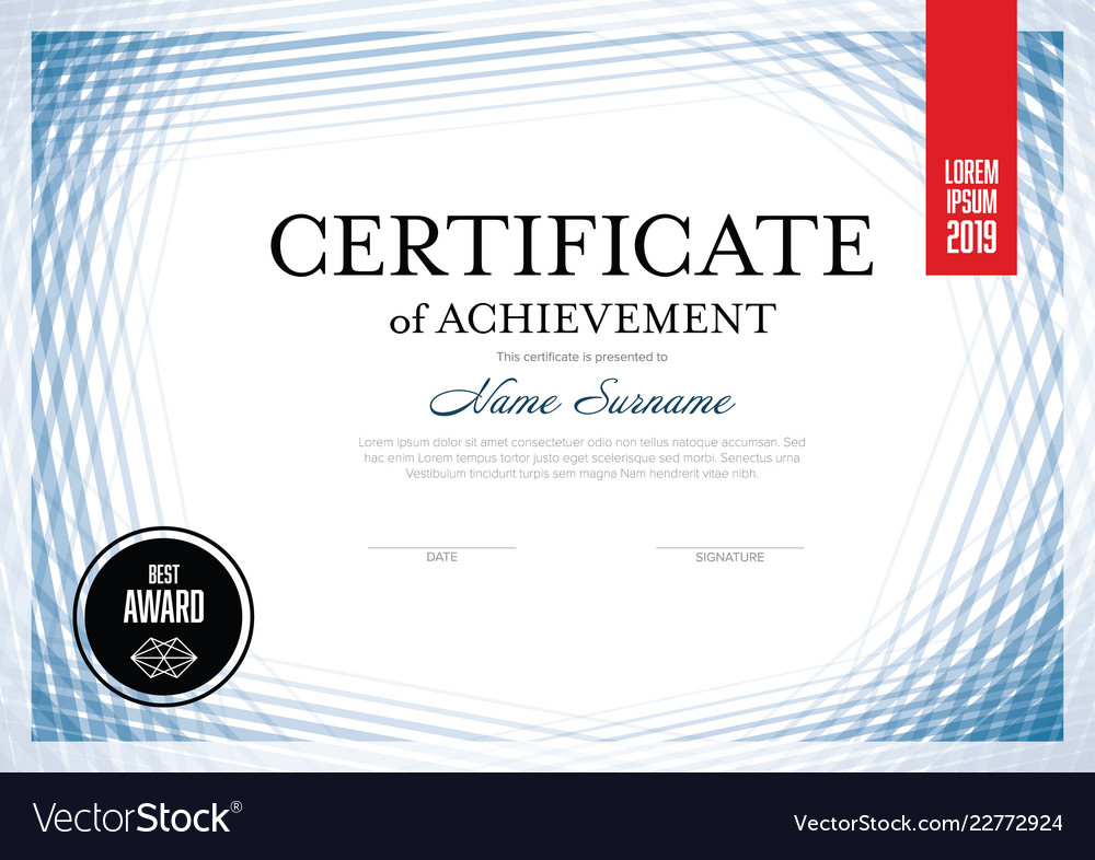 Modern Lines Certificate Template Royalty Free Vector Image