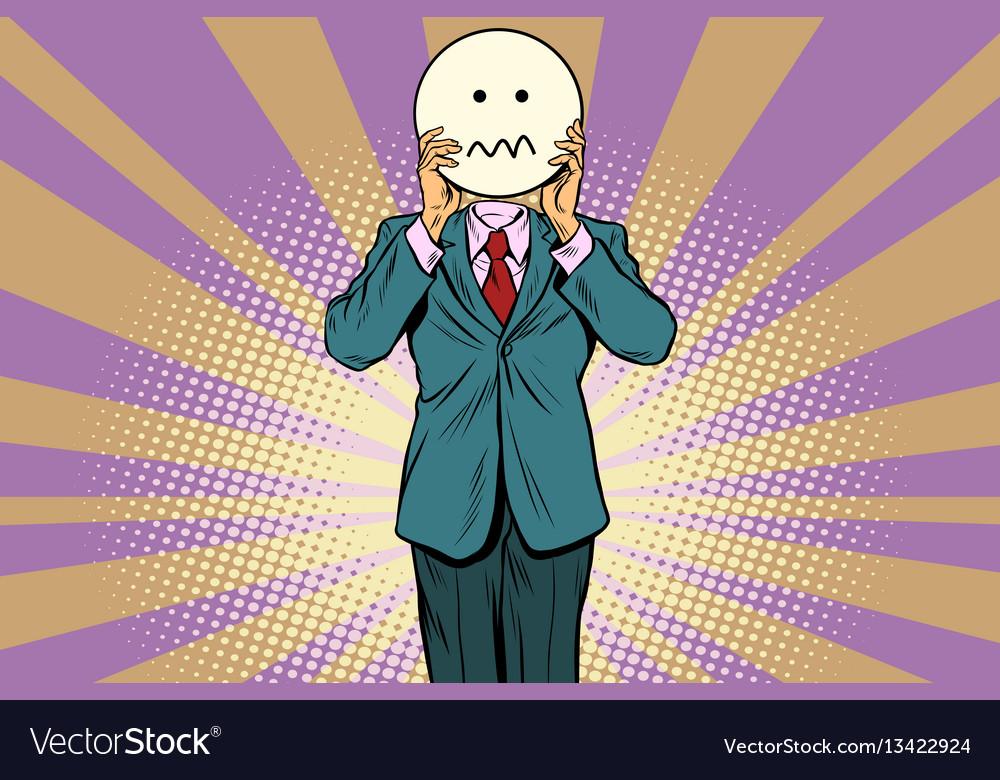 Nervous skepticism man smiley emoji face vector image