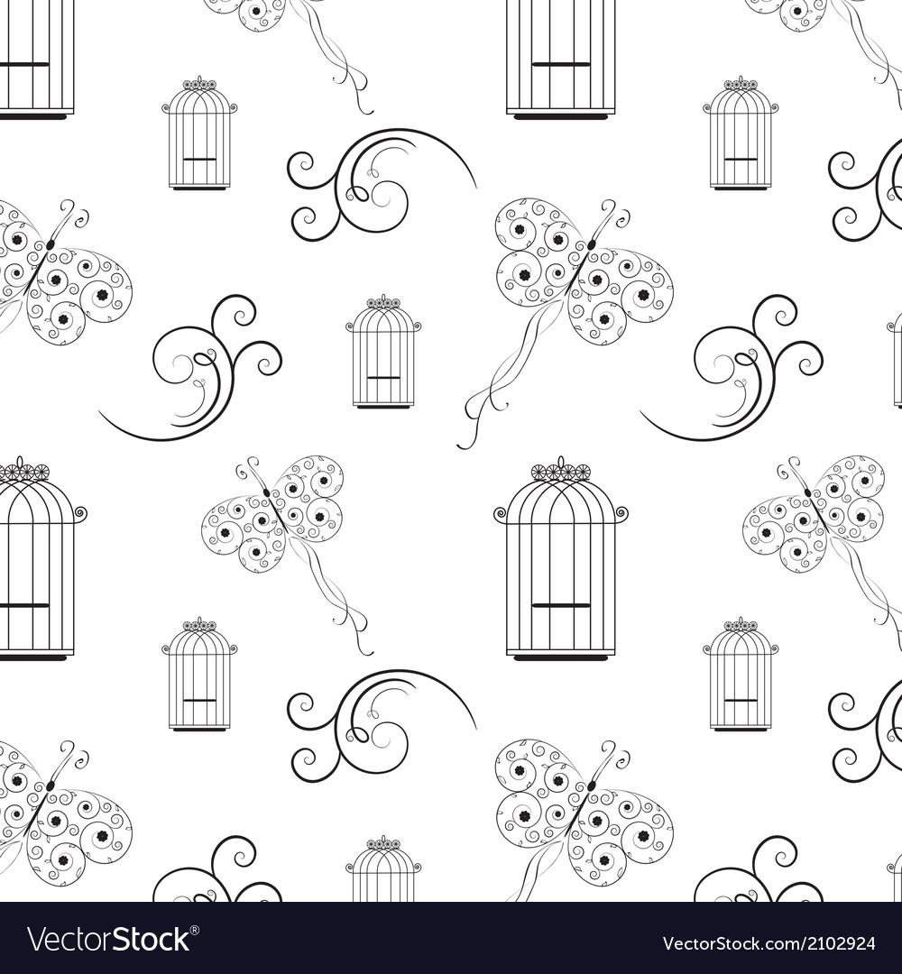 Seamless black and white pattern from tree