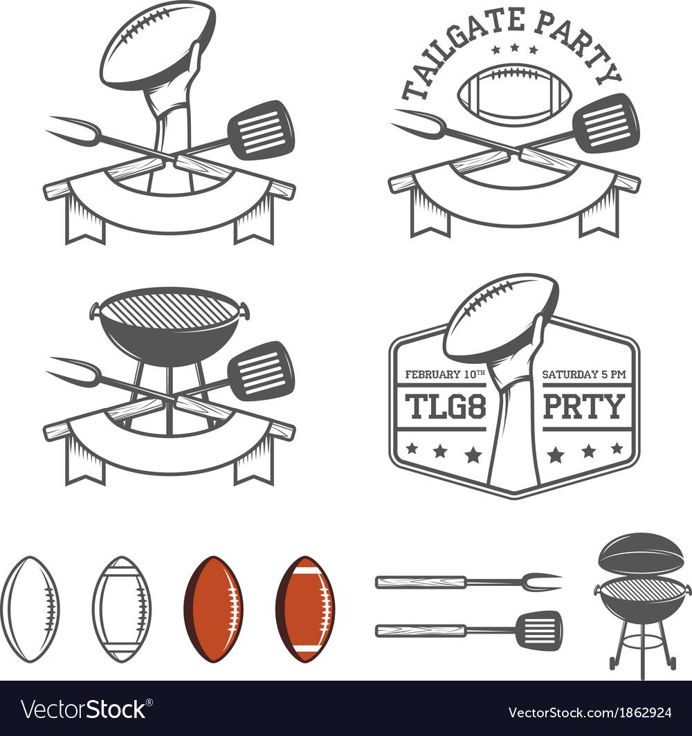 Tailgate party design elements set