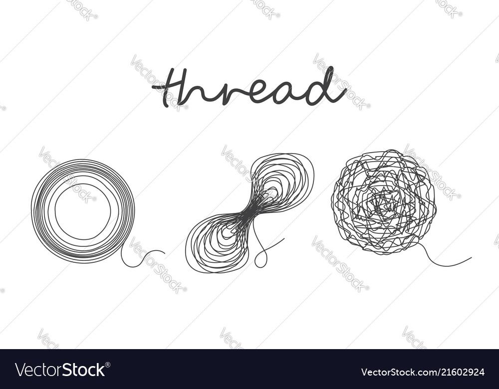 Thread ball and ravel logo set icon