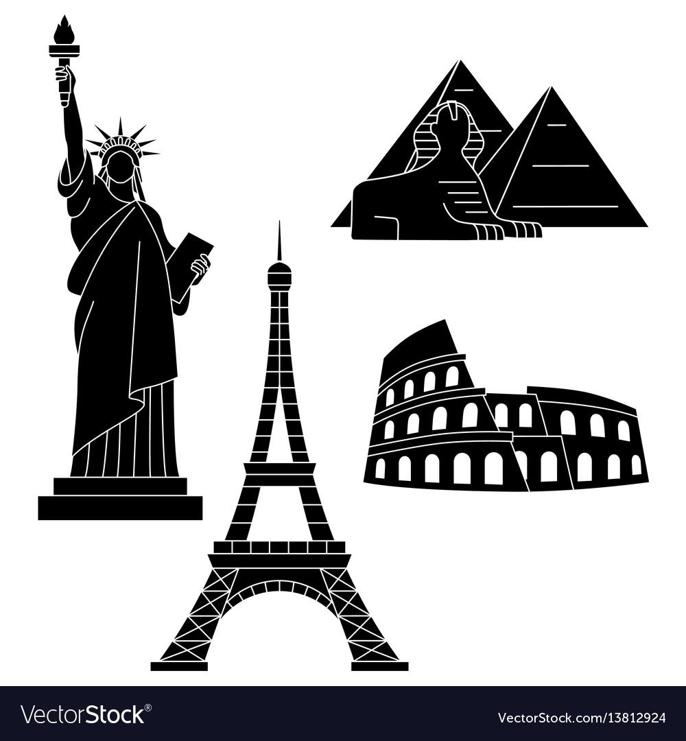 World landmarks eiffel tower statue liberty