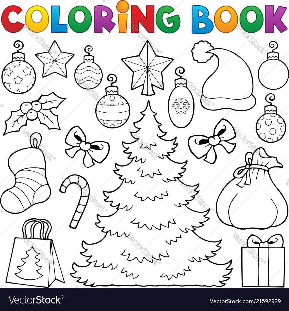 Coloring Book Christmas Decor 1 Royalty Free Vector Image