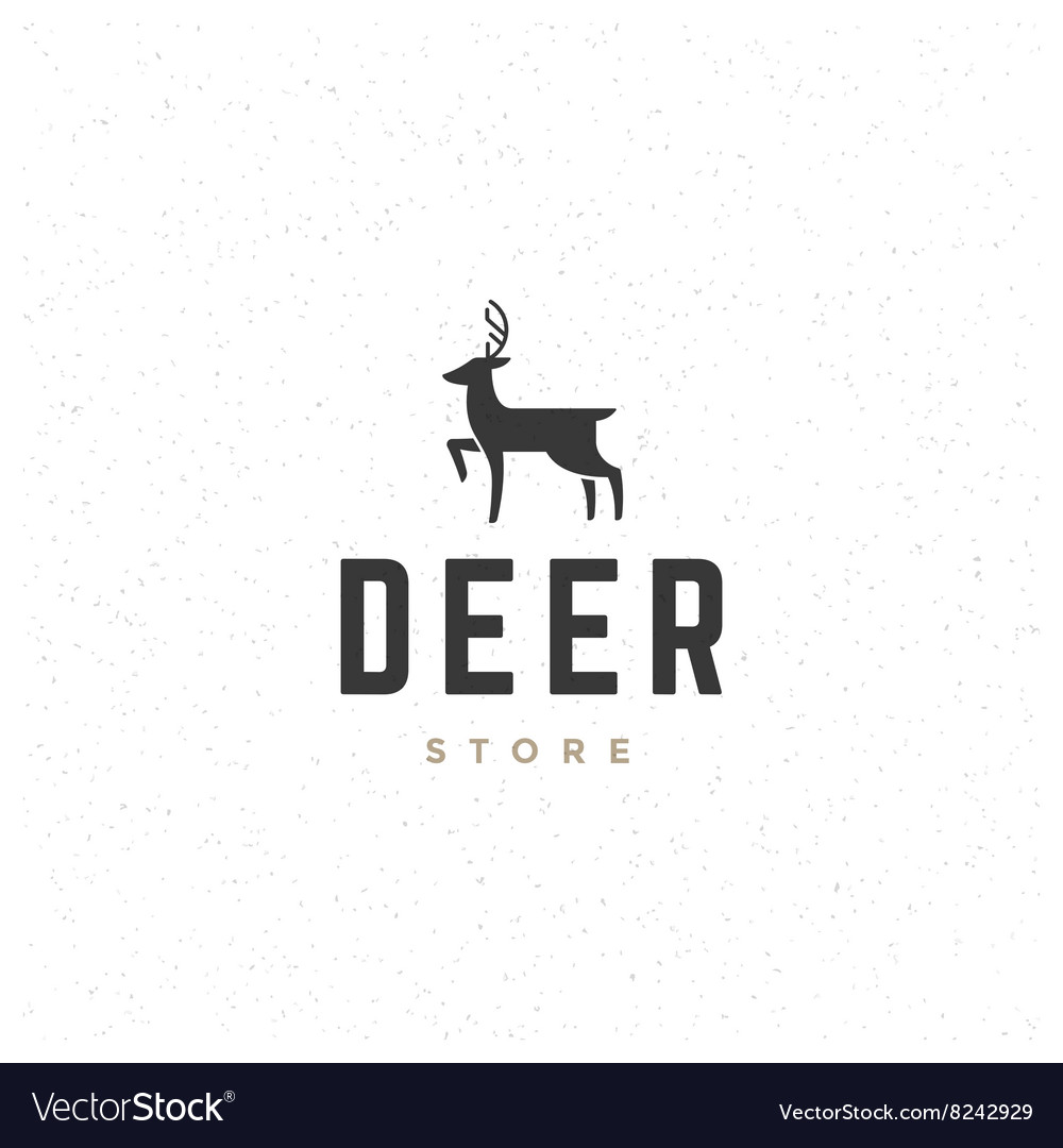 Deer Design Element in Vintage Style for Logotype