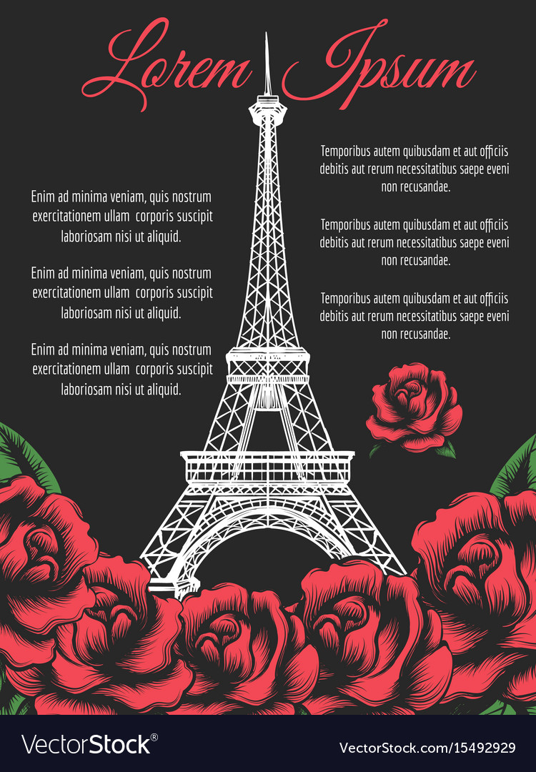 Eiffel tower and roses paris poster