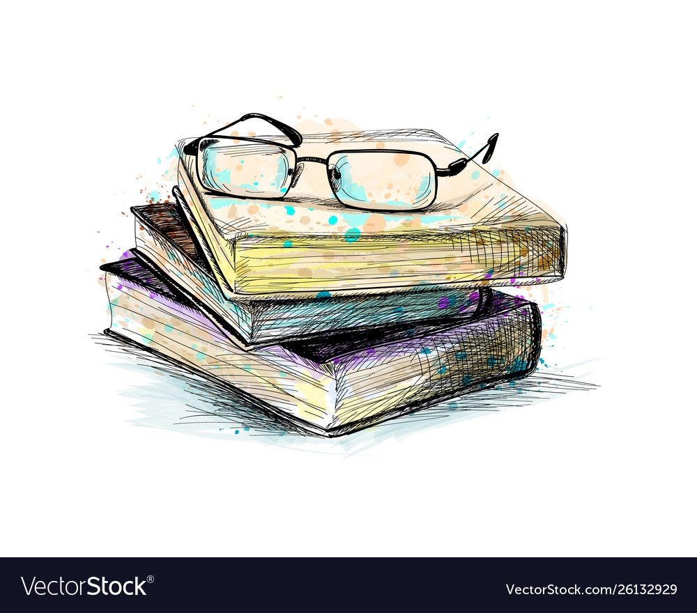 Eyeglasses on top stack books from a splash of