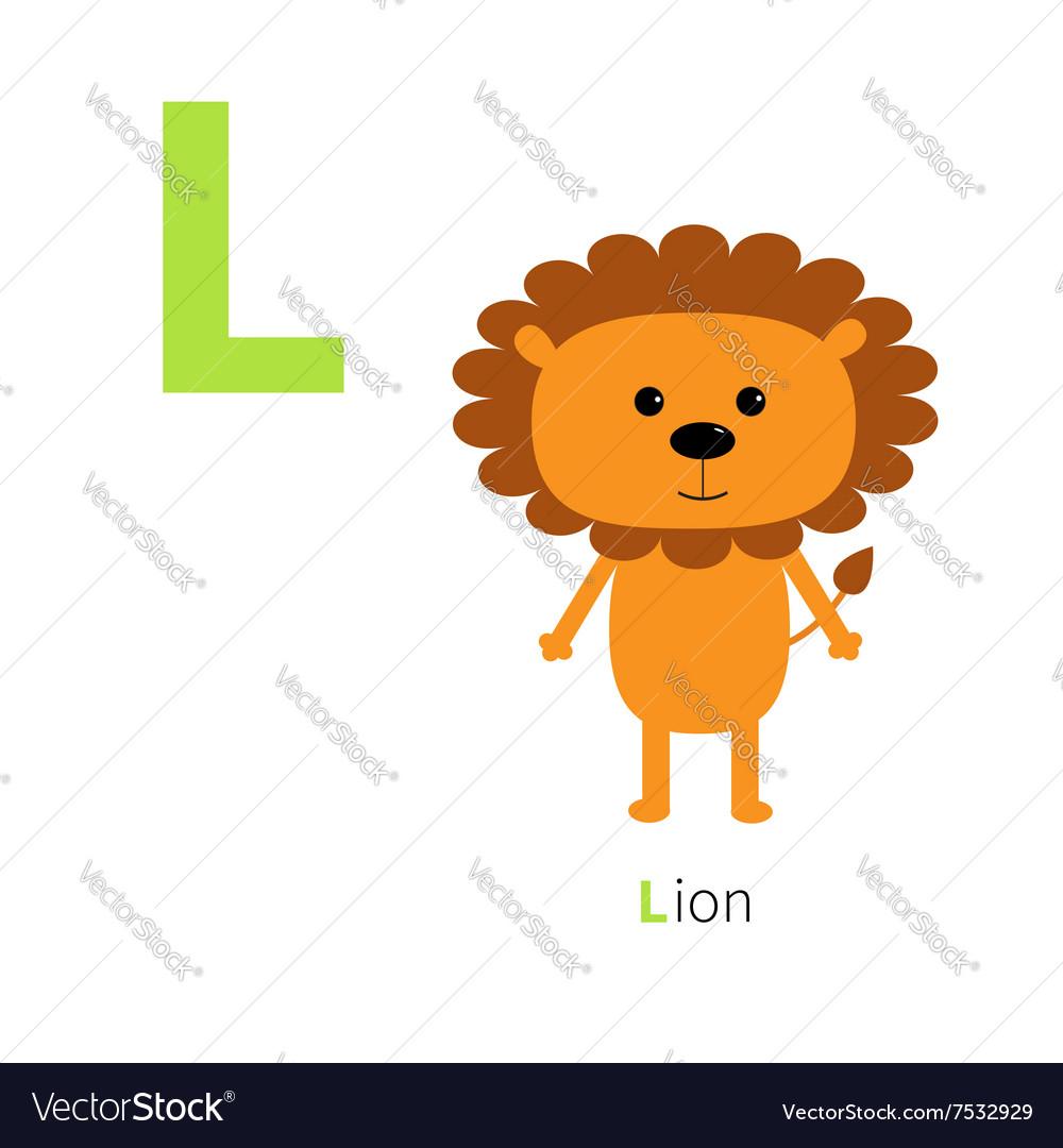 Letter L Lion Zoo alphabet English abc with