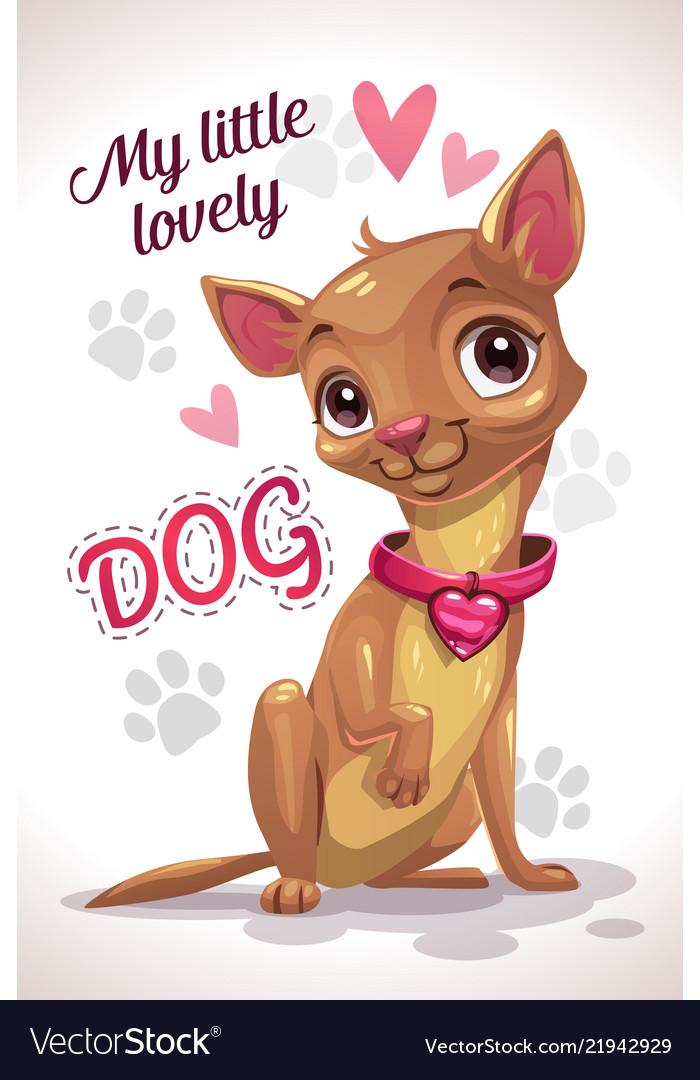 My little lovely dog cute cartoon sitting