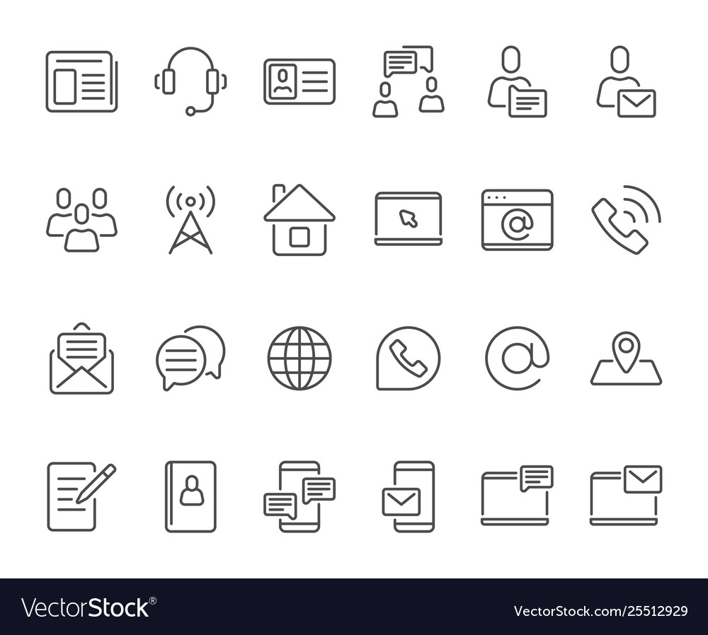 Outline contacts icons mobile phone contact icon