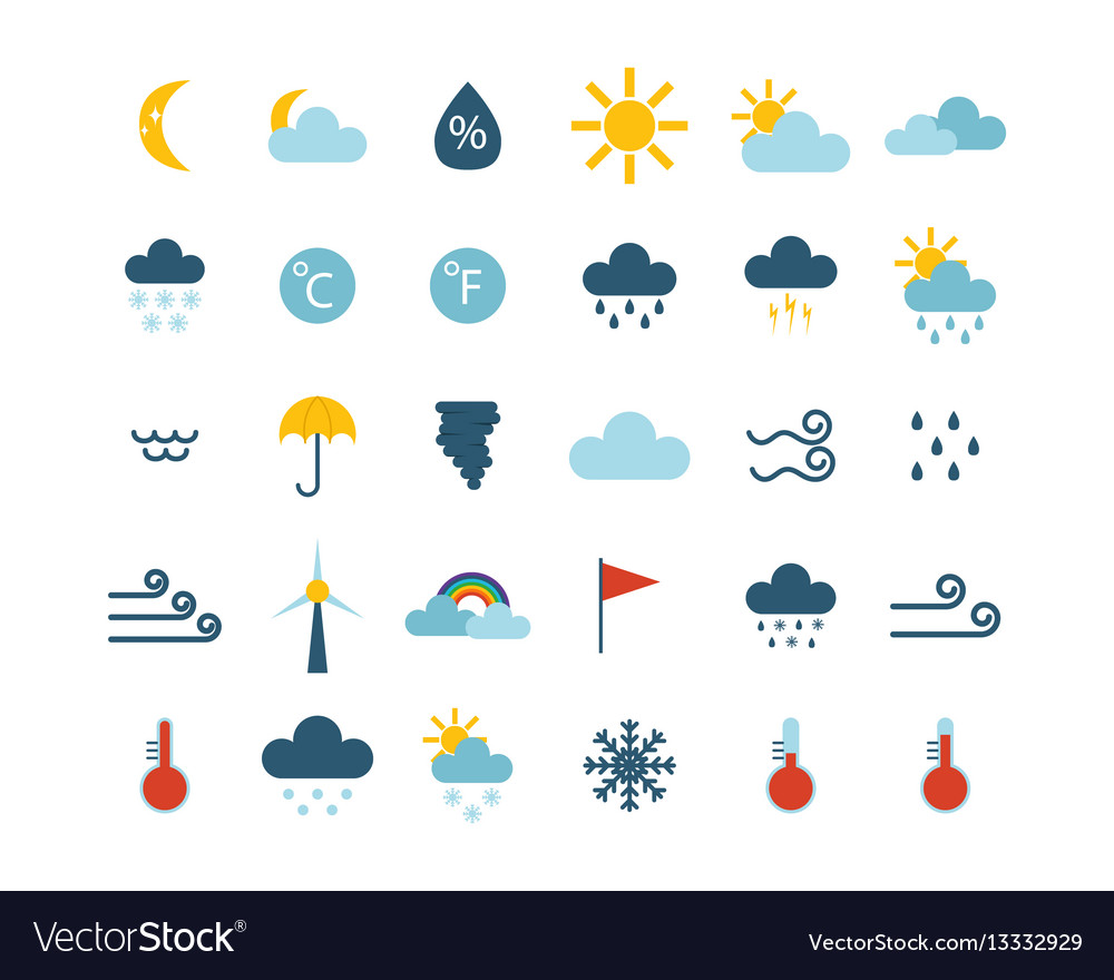 Set of climate forecast weather icons