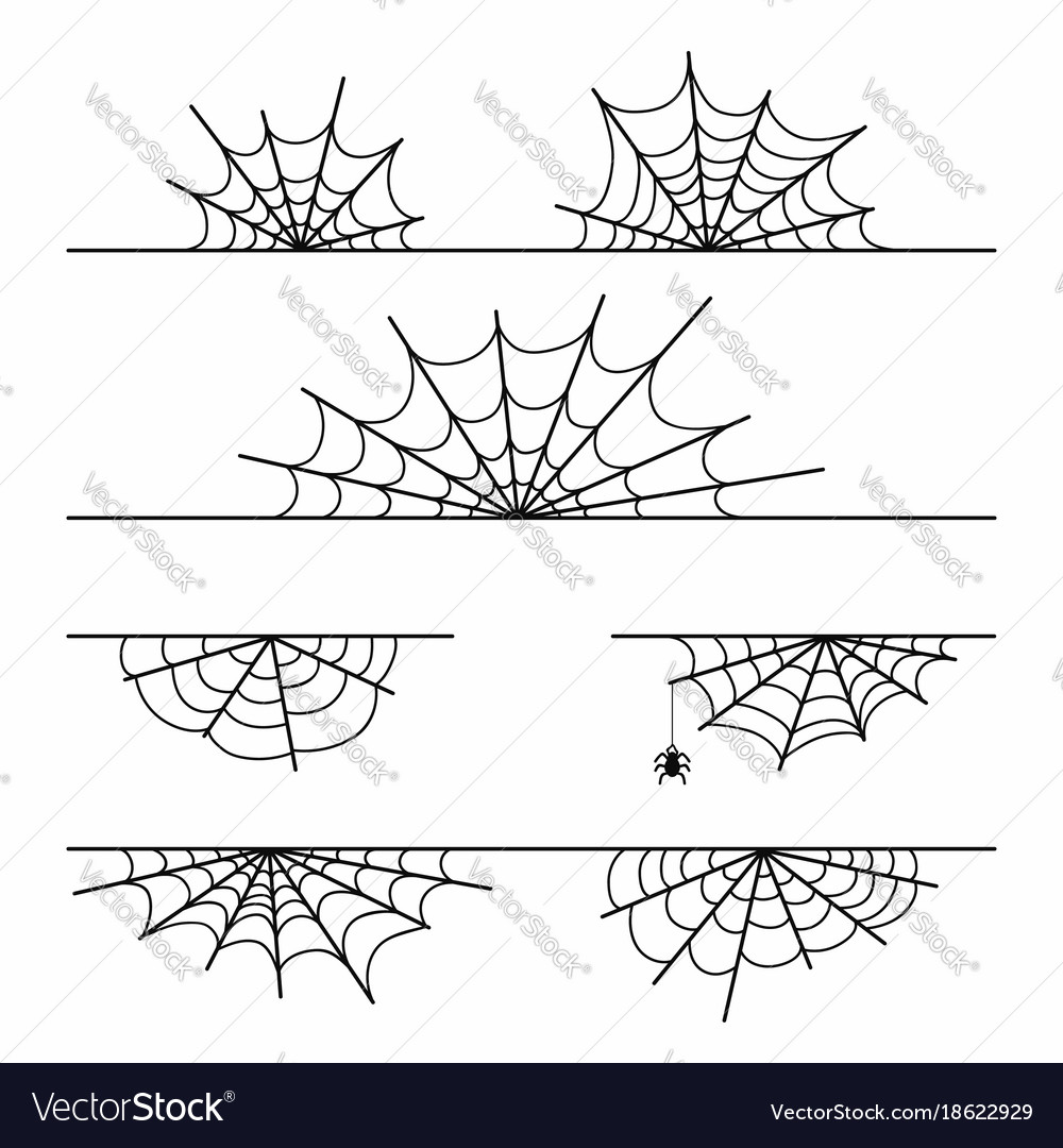 Spider web set isolated on background halloween