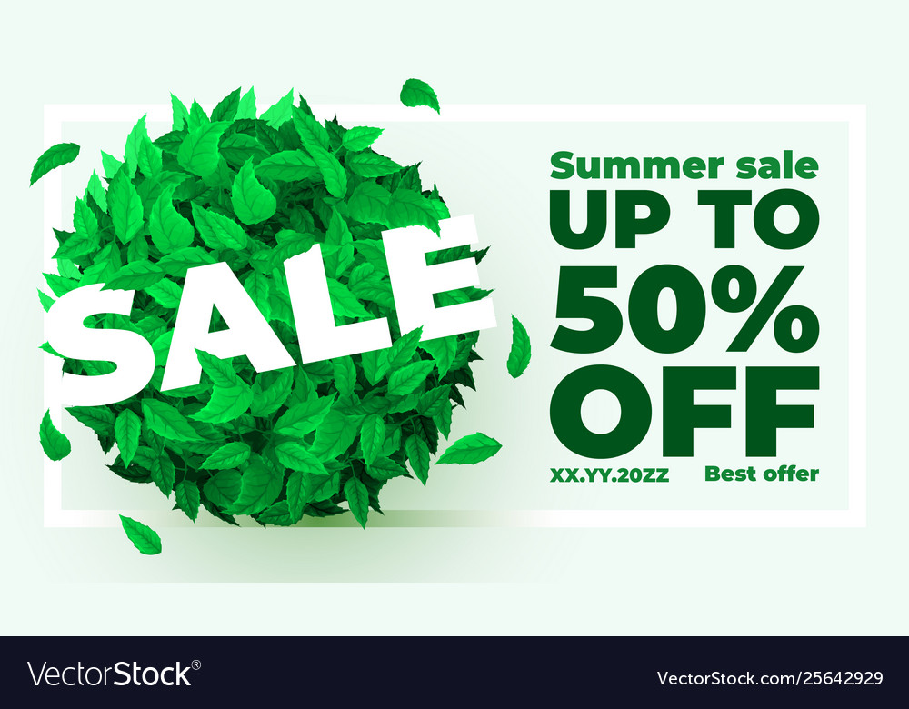 Summer or spring sale background with fresh green