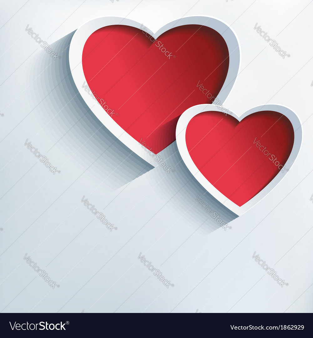 Valentine love background with two 3d hearts