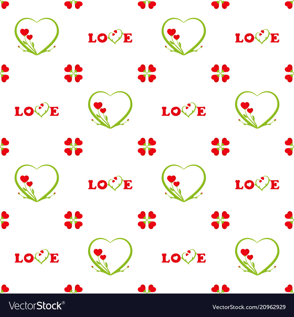 Valentines day seamless pattern inscription love