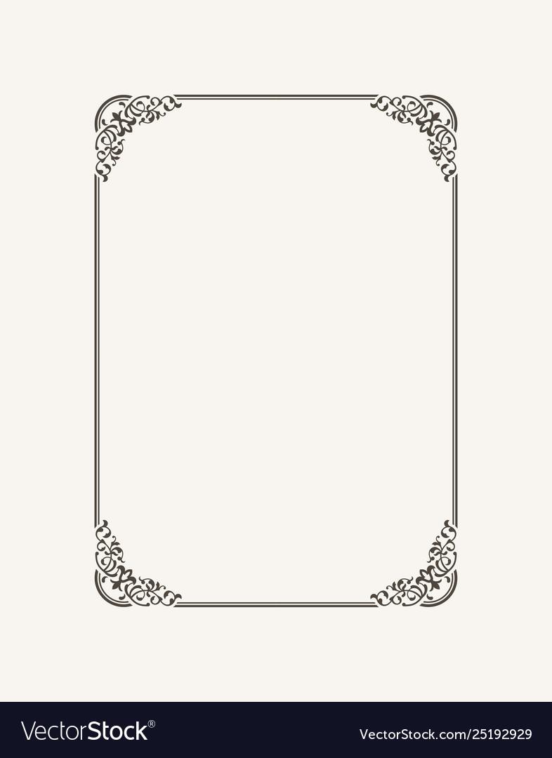 Vintage calligraphic frame black and white