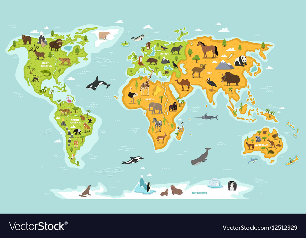 World map with wildlife animals and plants vector image gumiabroncs Images