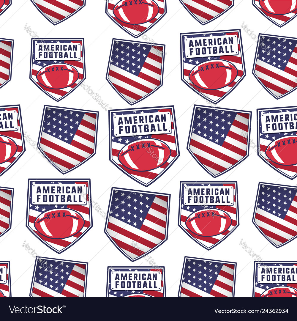 American football patch pattern design with usa