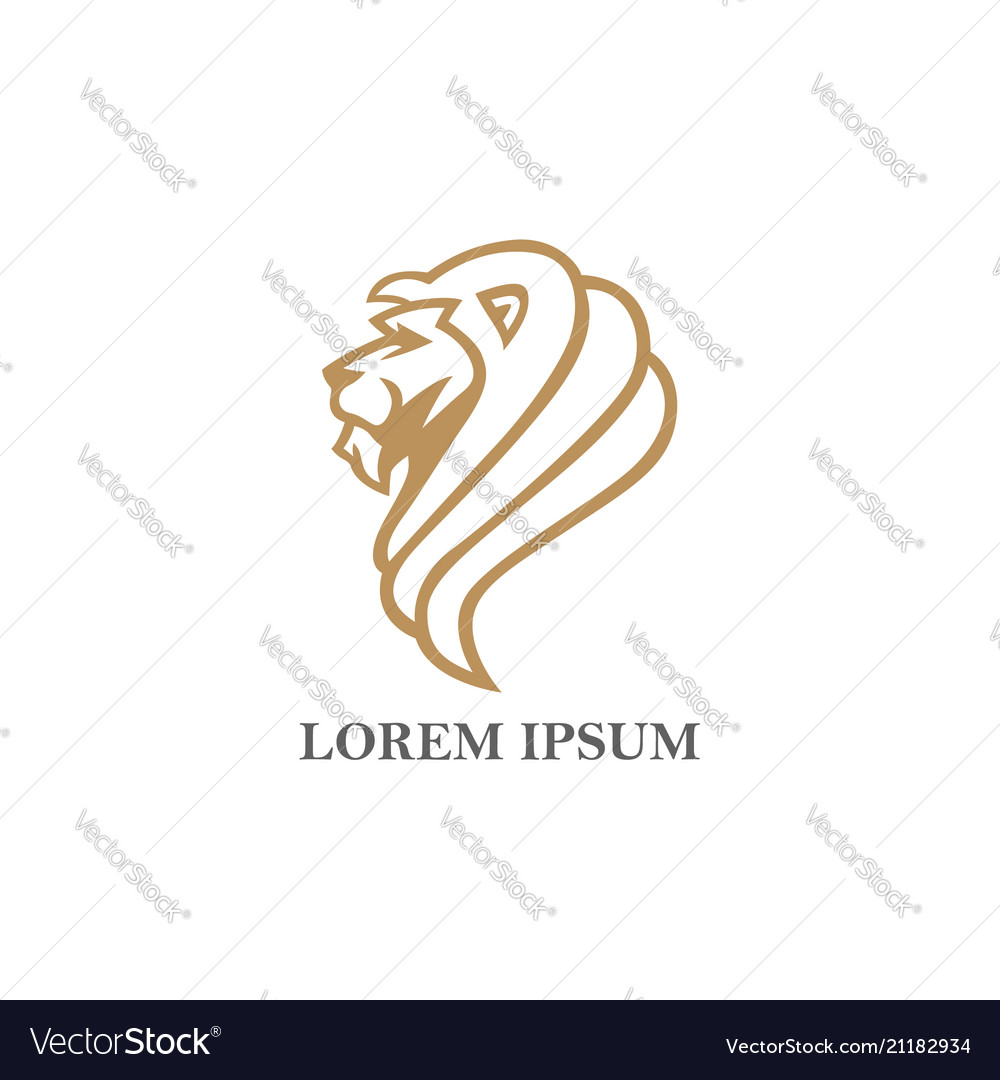 Angry lion gold logo design
