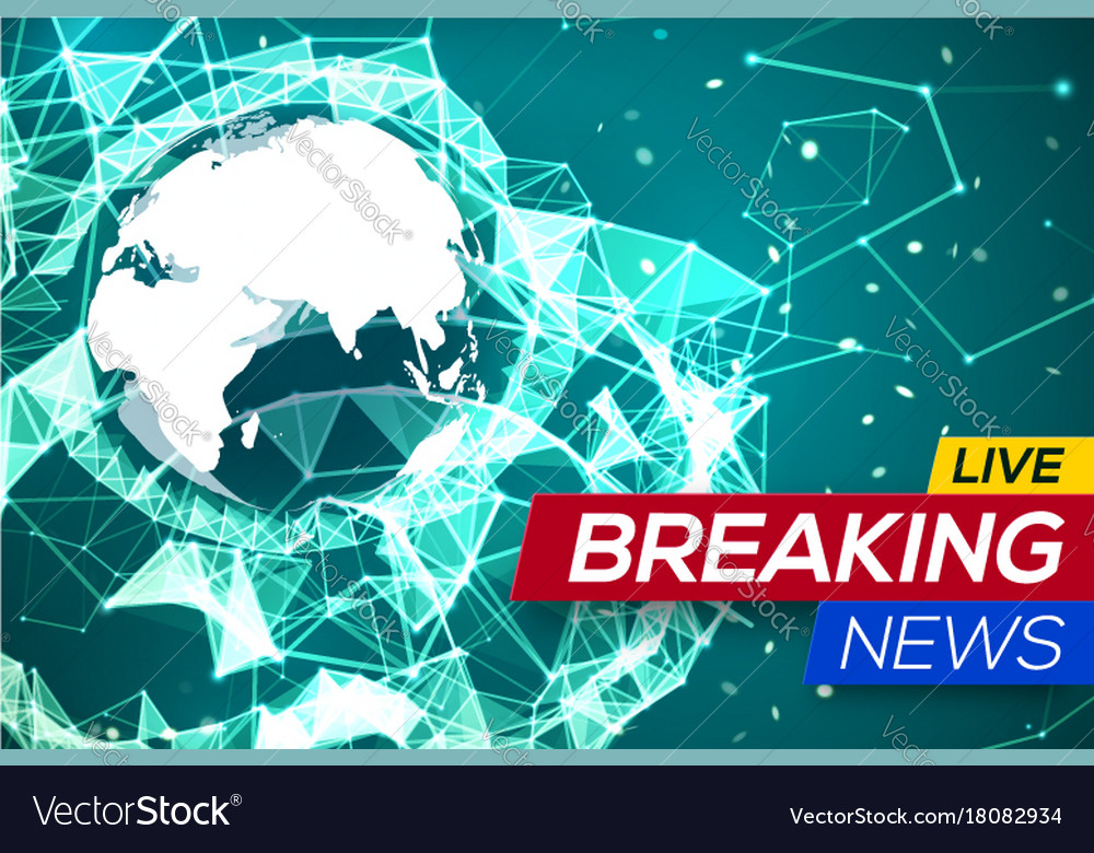 Breaking News Live With World Map Africa Europe Vector Image