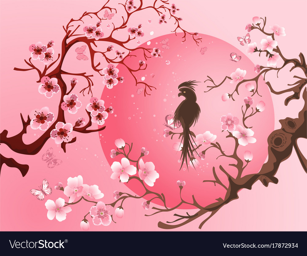 Cherry Blossom Tree With Bird Royalty Free Vector Image