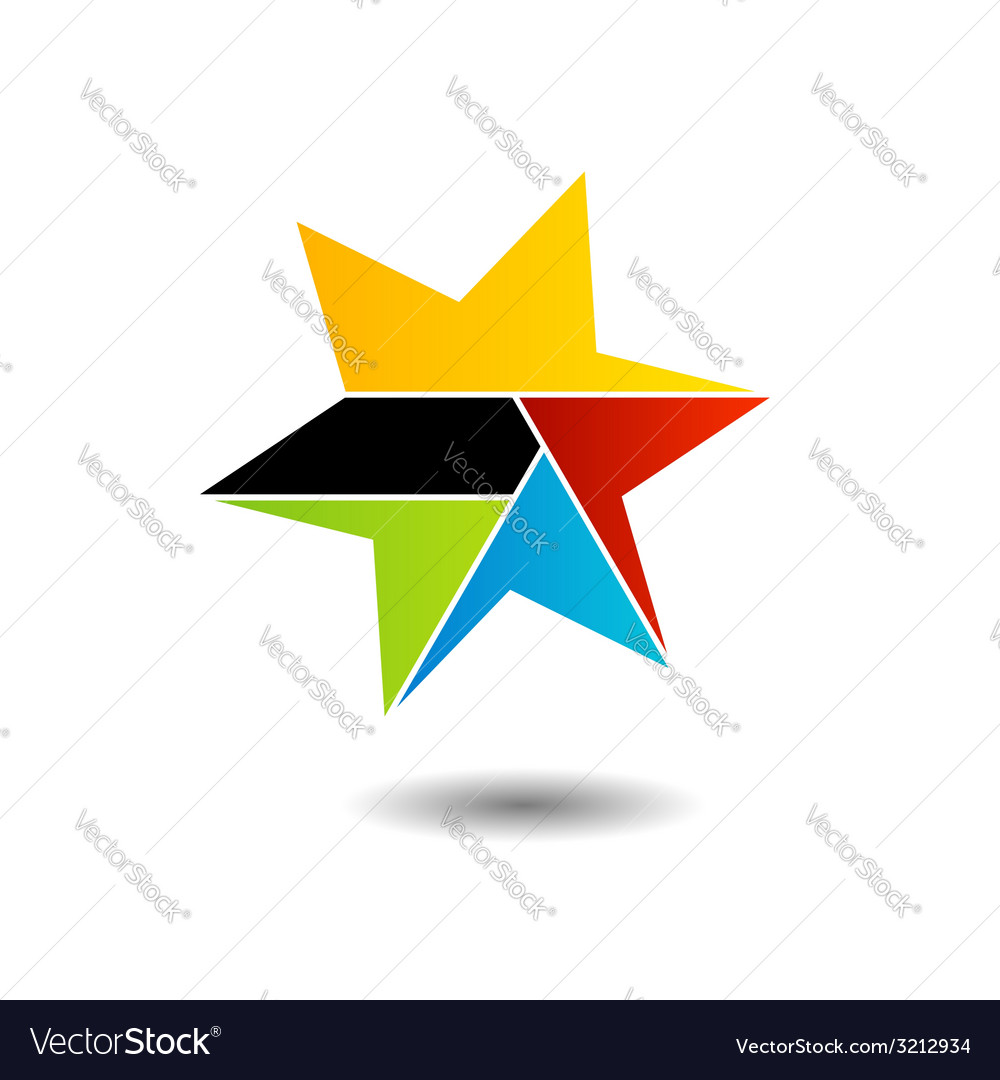 Colorful star logo with six sides