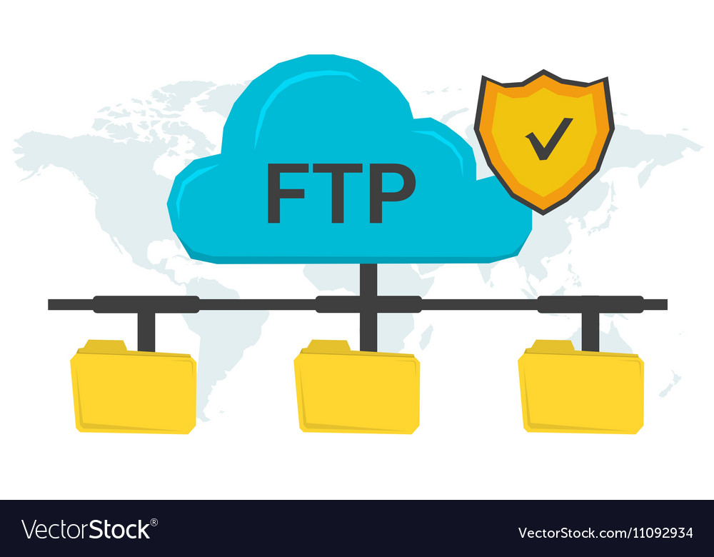 FTP concept with three folders