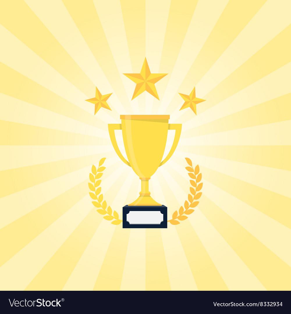 Golden Trophy with laurel wreath vector image