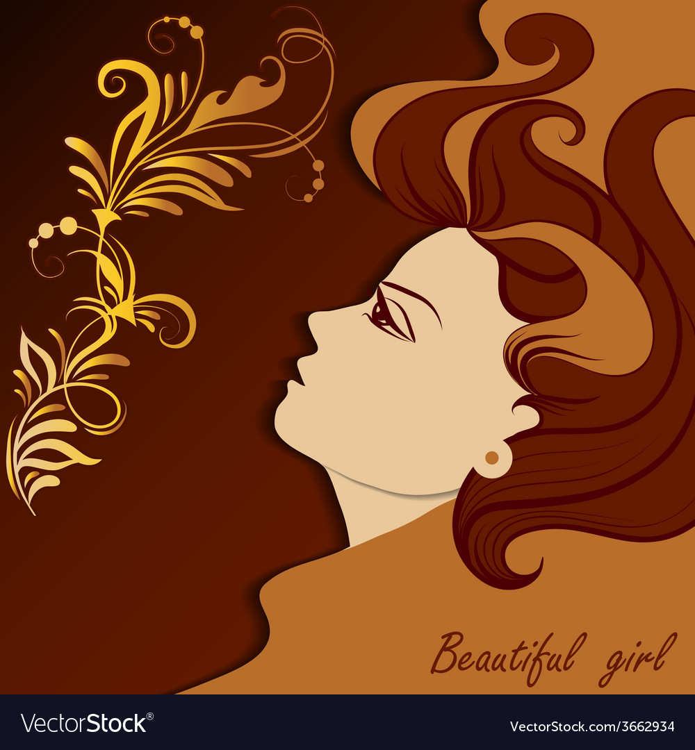 Graphic portrait of a beautiful girl vector image