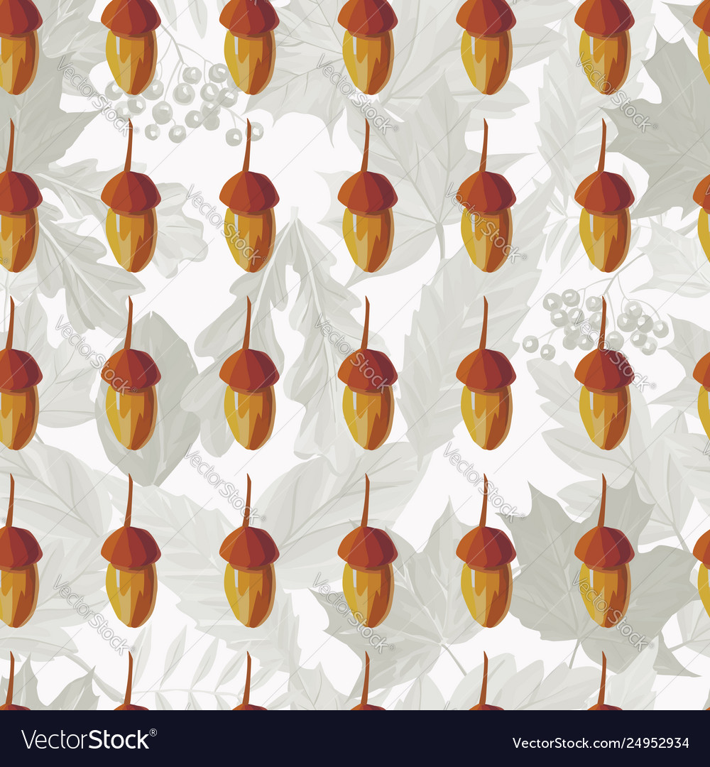 Hand drawn acorn seamless pattern autumn leaves