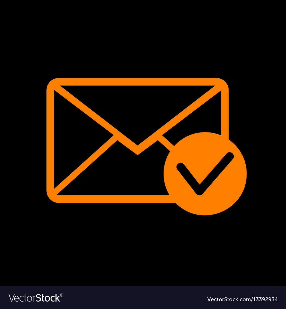 Mail sign with allow mark orange