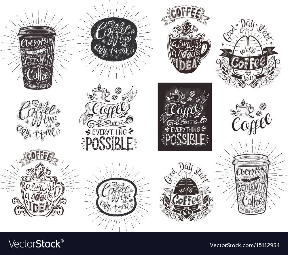 Set of coffee quotes hand-drawn lettering vector image