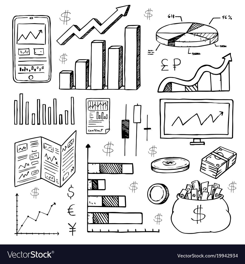 Stock Market Had Drawn Symbols Royalty Free Vector Image